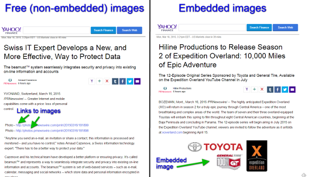 screenshot examples of press releases with free and embedded images